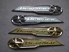 Classic Chrome Dragstar Gas Tank Badge Emblem Drag Star Decal Stickers for Yamaha Vstar XVS XV 400 650 Silver Gold