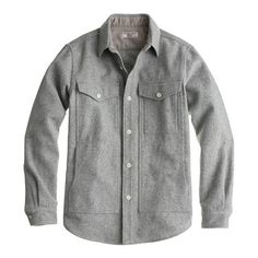 Wallace & Barnes wool hunting overshirt in light grey - J.Crew.com