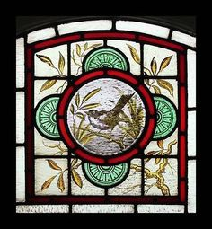 The Most Beautiful Rare Painted Bird Antique English Stained Glass ...
