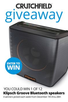 I entered the @Crutchfield Sweeps to win 1 of 12 @klipschaudio Groove BT speakers. You can too – #GGGEntry #win