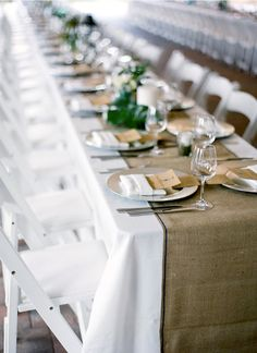 Trimmed burlap runner  on white tablecloth. Check this out Sis!