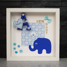 Diy Arts And Crafts, Hobbies And Crafts, Paper Crafts, Box Frame Art, Box Frames, Baby Frame, 3d Pictures, Baby Box, Personalised Box