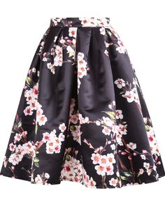 Floral Pleated Black Skirt