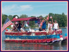Pontoon Decorated for July 4th