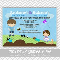 Bug Personalized Party Invitation-personalized invitation, photo card, photo invitation, digital, party invitation, birthday, shower, announcement, printable, print, diy,ant, beetle, bugs, bee, bumble bee