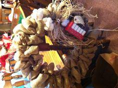 Burlap, cotton bale and cotton boll wreath