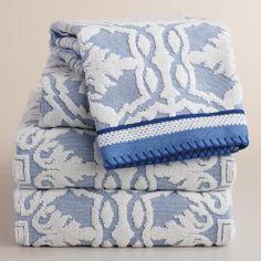 Mediterranean Blue Arden Tile Sculpted Towel Collection | World Market