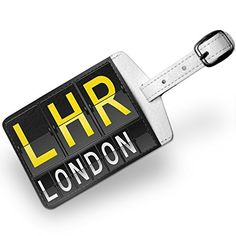 Luggage Tag LHR Airport Code for London Travel ID Bag Tag  Neonblond * You can find more details by visiting the image link.