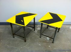 Here are 2 road sign side tables made by Joel by PeoplesHouse, $150.00