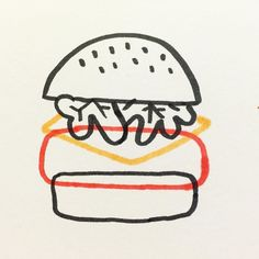 Just a lil hamburger by joeypasko Art And Illustration, Food Illustrations, Silkscreen, Design Art, Graphic Design, Oeuvre D'art, Line Art, Art Drawings, Sketches