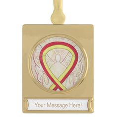 Red and Yellow Awareness Ribbon Angel Ornament