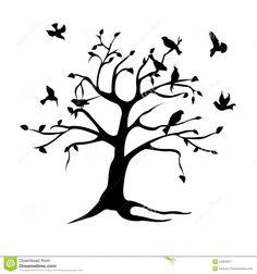 Silueta Del árbol Y De Los Pájaros Fotografía de archivo libre de regalías - Imagen: 13301877