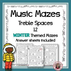 Winter Music Activities: 12 Maze Puzzles using the Spaces of the Treble Staff Music Theory Games, Music Games, Music Songs, Maze Puzzles, Puzzles For Kids, Child Teaching, Teaching Music, Music Worksheets, Worksheets For Kids
