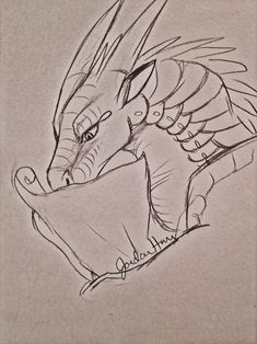 Scrolls, scrolls, scrolls, and of course.but just Moon really Animal Sketches, Animal Drawings, Art Sketches, Dragon Drawings, Dragon Sketch, Fantasy Creatures, Mythical Creatures, Wings Of Fire Dragons, Fire Image