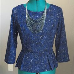 Blue Print Peplum Top Pretty cobalt blue peplum style print top. Zip up the back. Three quarter sleeve. Great with pants or a skirt for work. Great fit! Only worn once. Forever 21 Tops Blouses