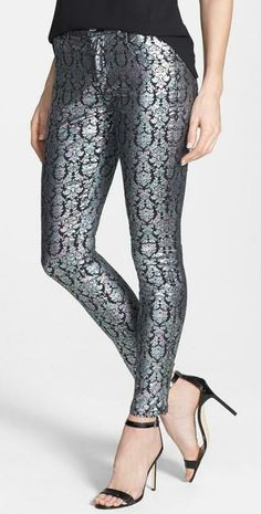 Metallic Print Skinny Pants
