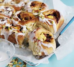 """""""Stollen Spiral"""" Buns Bake a batch of these sweet German buns over Christmas and enjoy at breakfast or teatime. Xmas Food, Christmas Cooking, Christmas Recipes, Noel Christmas, Christmas Brunch, Christmas Cakes, Christmas 2017, Bbc Good Food Recipes, Cooking Recipes"""