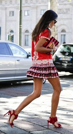 A mini skirt and heels is always a good idea, especially in the summer!