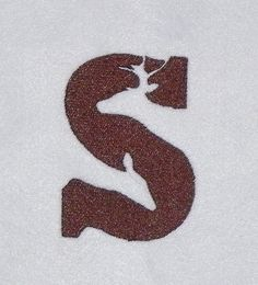 Letter S with Deer Silhouette Machine Embroidery Design Pattern Single Color for a 4X4 Hoop PES, dst, exp, hus, jef, pcs, vip Formats