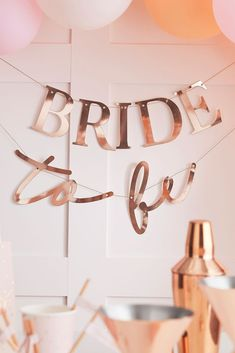 """Decorate your shower or bachelorette party with this ultra-elegant rose gold """"bride to be"""" bunting. Paper Includes two bunting strands 5 L, Imported Hen Party Decorations, Bachelorette Party Decorations, Bridal Shower Decorations, Hens Party Themes, Gold Bridal Showers, Bridal Shower Party, Elegant Bridal Shower, Bridal Shower Ballons, Bride Shower"""