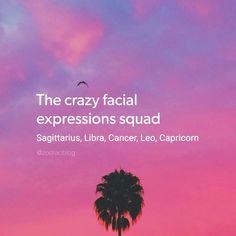 The crazy facial expressions squad: Sagittarius, Libra, Cancer Zodiac Sign♋, Leo, Capricorn.