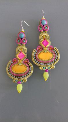 Soutache Necklace, Tassel Earrings, Drop Earrings, Boho Jewelry, Jewelry Art, Diwali Craft, Estilo Boho, Shibori, Beaded Embroidery