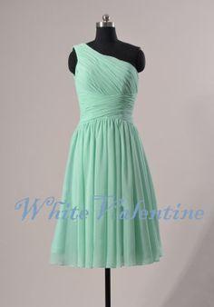 Short Dark Mint Bridesmaid Dress One-shoulder Peach Grey Blue Blush Pink Wedding Party Dress Prom Dress Cheap Custom Bridesmaid Dress 2014