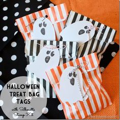 Halloween Treat Bags with Ghost Stamped Tags