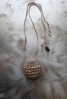Artist Necklace Crocheted Lace River Stone Ruffled by Monicaj