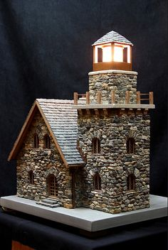 miniature stone lighthouse