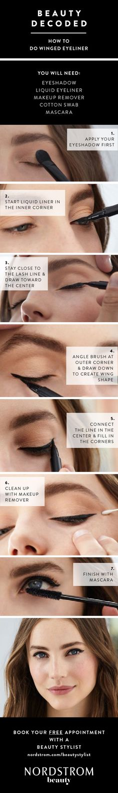 Beauty pro tip: How to apply winged eyeliner. The only guide you'll need to the perfect cat eye! It's easier than you think (only 7 steps). You just need eyeshadow, liquid liner, makeup remover, cotton swabs and mascara.