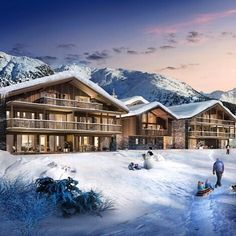 Enjoy snowy sunsets at your new ski home #Interiors #InteriorDesign #HomeDesign #HomeDecor #Design #Luxury #Home #DreamHome #Kitchen #RealEstate #Property #Realtor #Ski #Chalet #Skiing #Snow #France