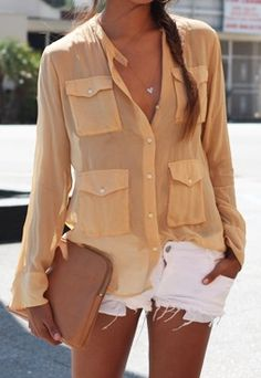 nude sheer top/white shorts