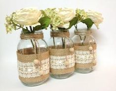 burlap and lace mason jars by Lynne Snell-Manners