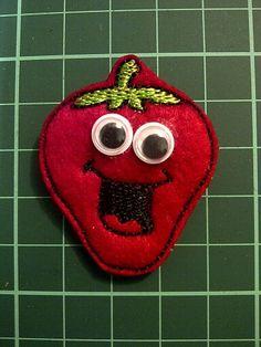Smiley Strawberry Felt Fridge Magnet