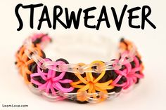 Rainbow Loom STARWEAVER Bracelet. Designed and loomed by Madeline at Loom Love. Click photo for YouTube tutorial. 06/30/14.