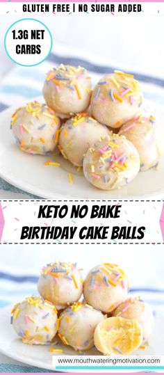 These No Bake Keto Birthday Cake Balls are so good and so simple to make! They are an awesome kid friendly keto dessert and make a great party treat. #ketobirthdaycake #lowcarbdesserts #ketofatbombs #fatbombs #ketodessert Keto Cake, Keto Cheesecake, Keto Friendly Desserts, Low Carb Desserts, Healthy Desserts, Keto Birthday Cake, Bolos Low Carb, Cake Ball Recipes, Keto Lasagna