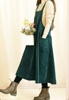Mori Girl Preppy Style Corduroy Maxi Pleated Dress Women Loose Casual Thicken Long Tunique Vestido Verao Dress Boho Curto Mori - All About Preppy Outfits, Preppy Style, Boho Outfits, Cute Outfits, Fashion Outfits, My Style, Long Tunic Dress, Boho Dress, Dress Girl