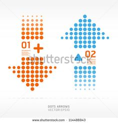 dots arrows orange and blue color / can be used for infographics / numbered…