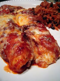 Weeknight Beef Enchiladas - beef, tomato soup, enchilada sauce, tortillas and cheese - make ahead of time and refrigerate or freeze