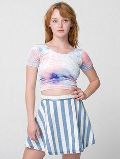 American Apparel - Striped Denim Circle Skirt