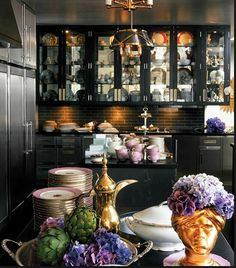 kelly wearstler Spectacular black kitchen!!!