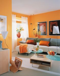9 Best Orange Living Rooms images | Living room orange, Modern ...