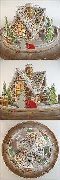 So many good ideas from this picture. Link appears to be Russian gingerbread house. Gingerbread House Designs, Gingerbread House Parties, Gingerbread Village, Christmas Gingerbread House, Gingerbread House Decorating Ideas, Gingerbread Cake, Christmas Goodies, Christmas Baking, Christmas Treats