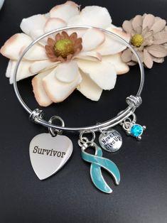 4ce202467 Light Blue Ribbon Survivor Bracelet / Addison's, Bechet's, Graves Disease,  Cushing Syndrome, Lymphedema, Scleroderma Gift / Survivor Gift