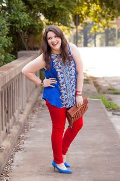 "RENEE C ""TUCKER MIXED PRINT SPLIT-BACK TANK"", Red Kensie Jeans, Blue C. Wonder Heels @stitchfix @cwonderstore @worldmarket @esterlane @9thandelm"