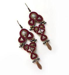 Long Maroon earrings Soutache boho burgund Earrings by sutaszula
