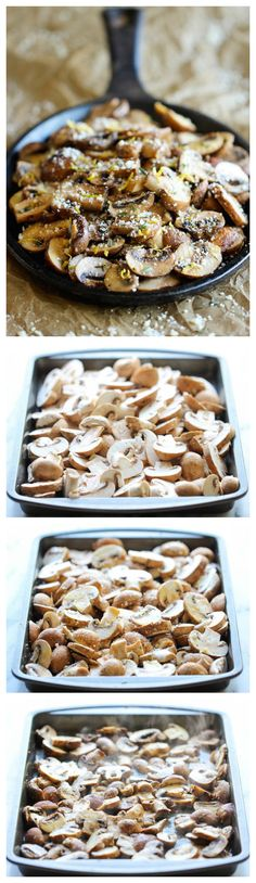Baked Parmesan Mushrooms - The easiest, most flavorful mushrooms you will ever make, baked with parmesan, thyme and lemon