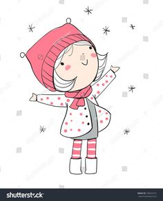 Find Winter Girl Christmas Card stock images in HD and millions of other royalty-free stock photos, illustrations and vectors in the Shutterstock collection. Illustration Mignonne, Cute Illustration, Art Drawings Beautiful, Cute Drawings, Art Mignon, Art Challenge, Doodle Art, Cute Art, Art Sketches