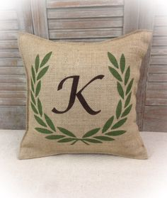 Burlap Pillow with monogrammed with Your initial by CreativePlaces